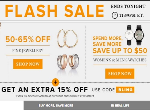 Hudson\s Bay Flash Sale 50-65% Off Jewellery + Up To $50 Off Watches + Extra 15% Off Promo Code