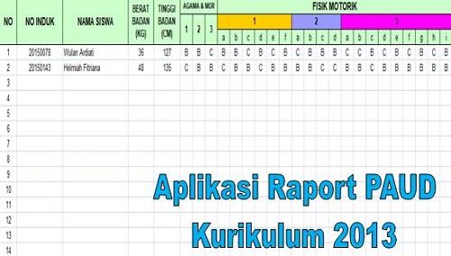 Aplikasi Raport Kurikulum 2013 Sekolah PAUD Terbaru