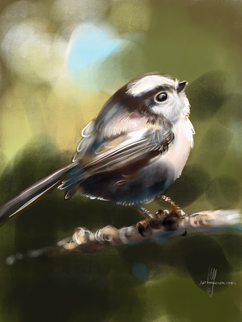 Long-tailed Tit bird painting by Artmagenta