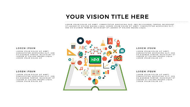 Free Infographic Books and Vision PowerPoint Template with Educational Icons