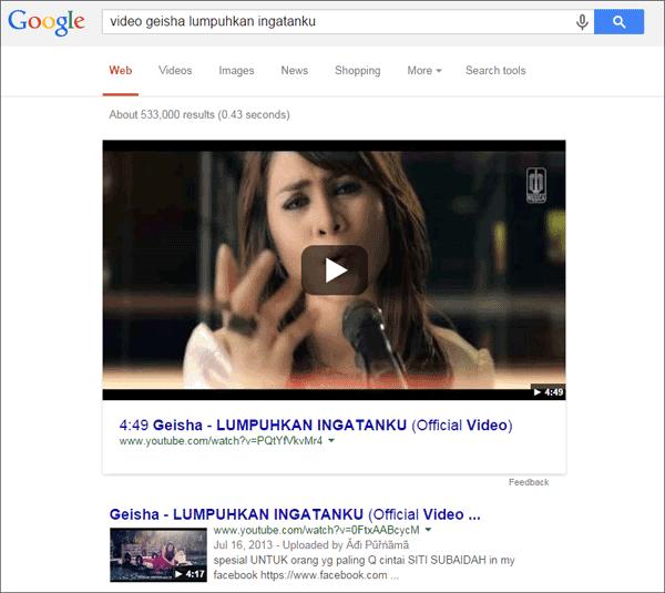 Tampilkan Baru Hasil Pencarian Video Google