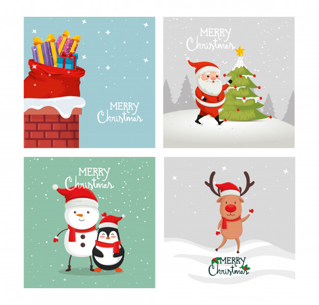 business christmas cards Set card of merry christmas and decoration Free Vector