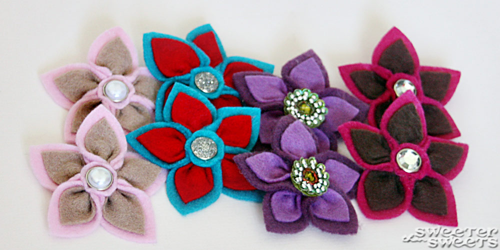 Felt Hand-Sewn Flower Shoe Clips by Tricia @ SweeterThanSweets on Etsy