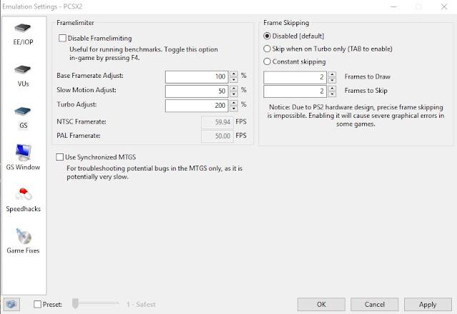 Cara Setting PCSX2 60FPS Agar Tidak Lag