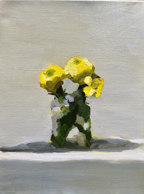 painting of marigolds in yellow, green and greys.