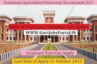Tamilnadu Agricultural University Recruitment 2017– 129 Junior Assistant cum Typist