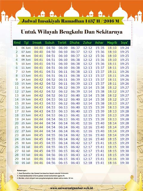 Jadwal Imsakiyah Bengkulu 2016 M 1437 H