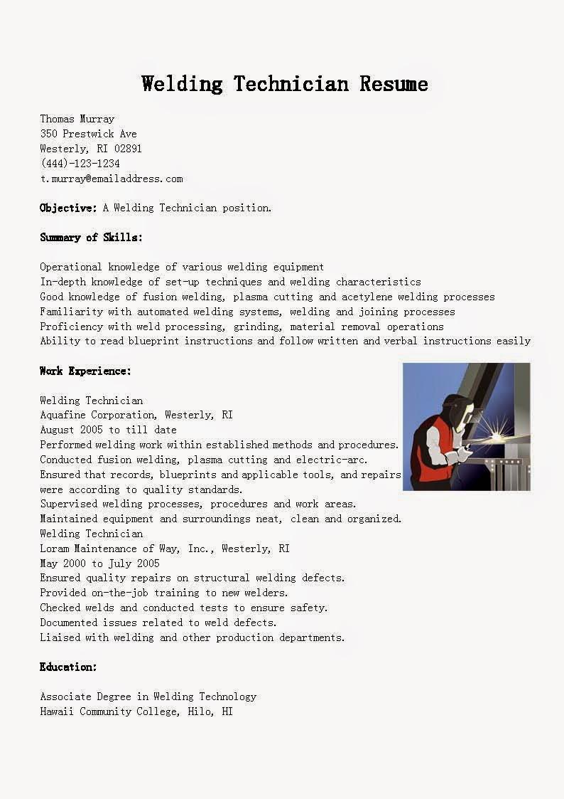 Resume Samples Welding Technician Resume Sample
