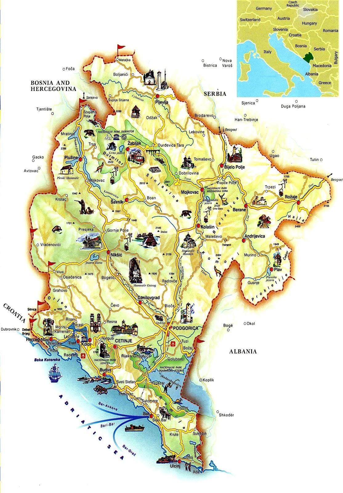 Montenegro | Mapas Geográficos de Montenegro