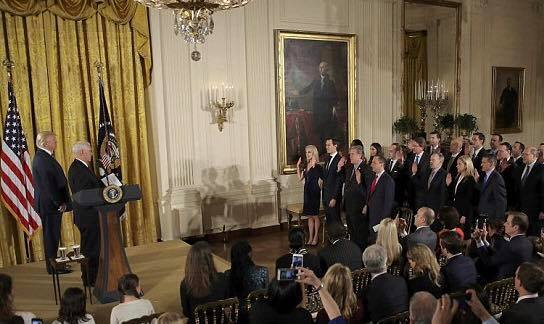 Donald J. Trump Congratulats his senior leadership team on their swearing to assist the President