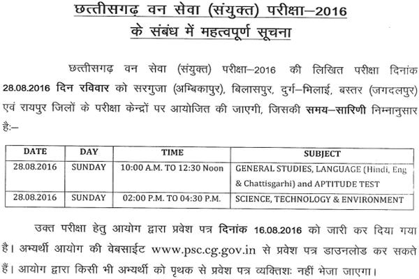 Chhattisgarh Forest Ranger Result 2016