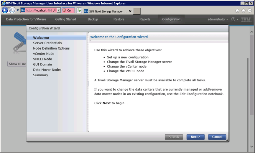 DP for Vsphere configuration wizard