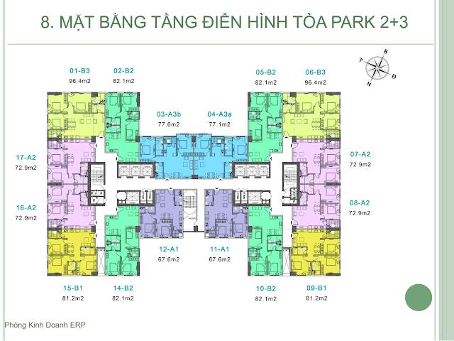 Mặt bằng thiết kế căn hộ tòa PARK - 2-3