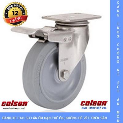 Bánh xe cao su có khóa càng inox 304 Colson phi 125 | 2-5456-444-BRK4 www.banhxedayhang.net