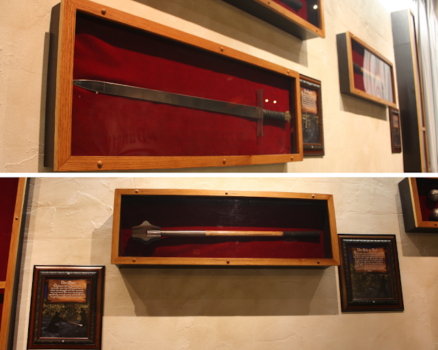 Examples of medieval weapons hang from the wall at the Medieval Times Castle in Schaumburg, Illinois