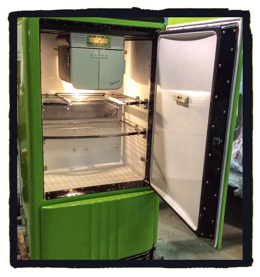 G.E. Deluxe Vintage Refrigerator. Custom order restoration, painted in  Sublime green (1970 Dodge Challenger) with Mopar decal.