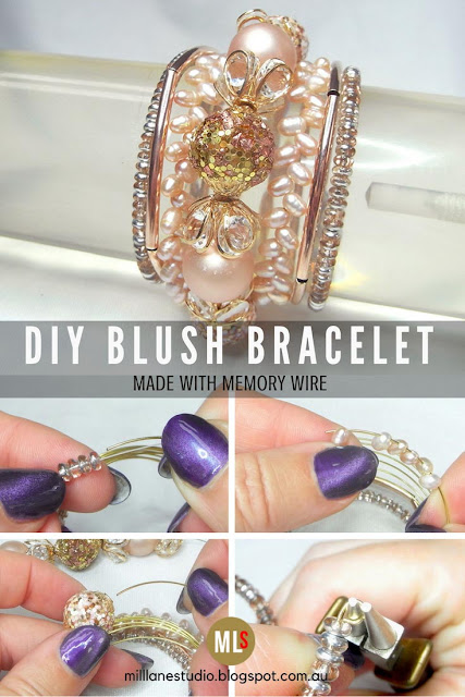 Tutorial sheet with step outs for how to make the Blush Memory Wire Bracelet