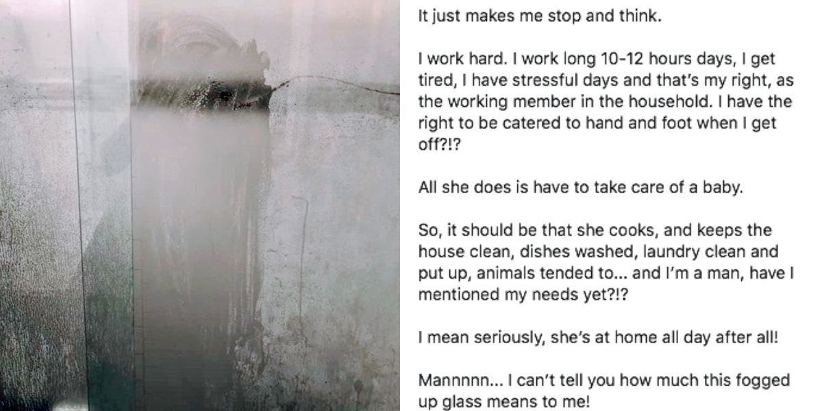 A Father's Viral Shower Door Picture Came With An Adorable Recognition Of His Wife's Work