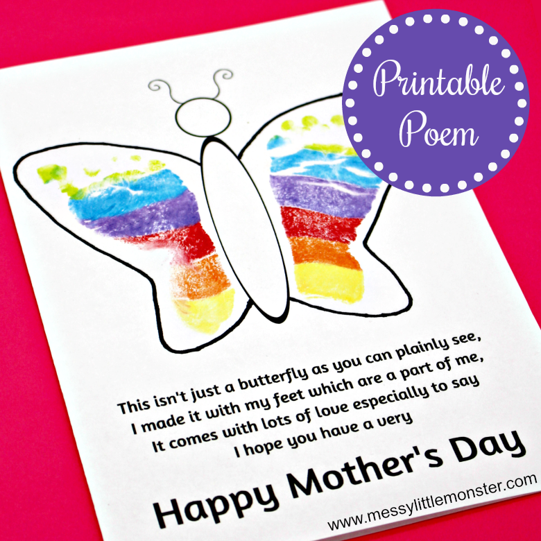 Make a footprint butterfly card using our printable mothers day poem template. This footprint butterfly poem makes an adorable keepsake for Mom. Kids of all ages can make this easy Mother's Day craft but it is perfect for babies,toddlers and preschoolers.