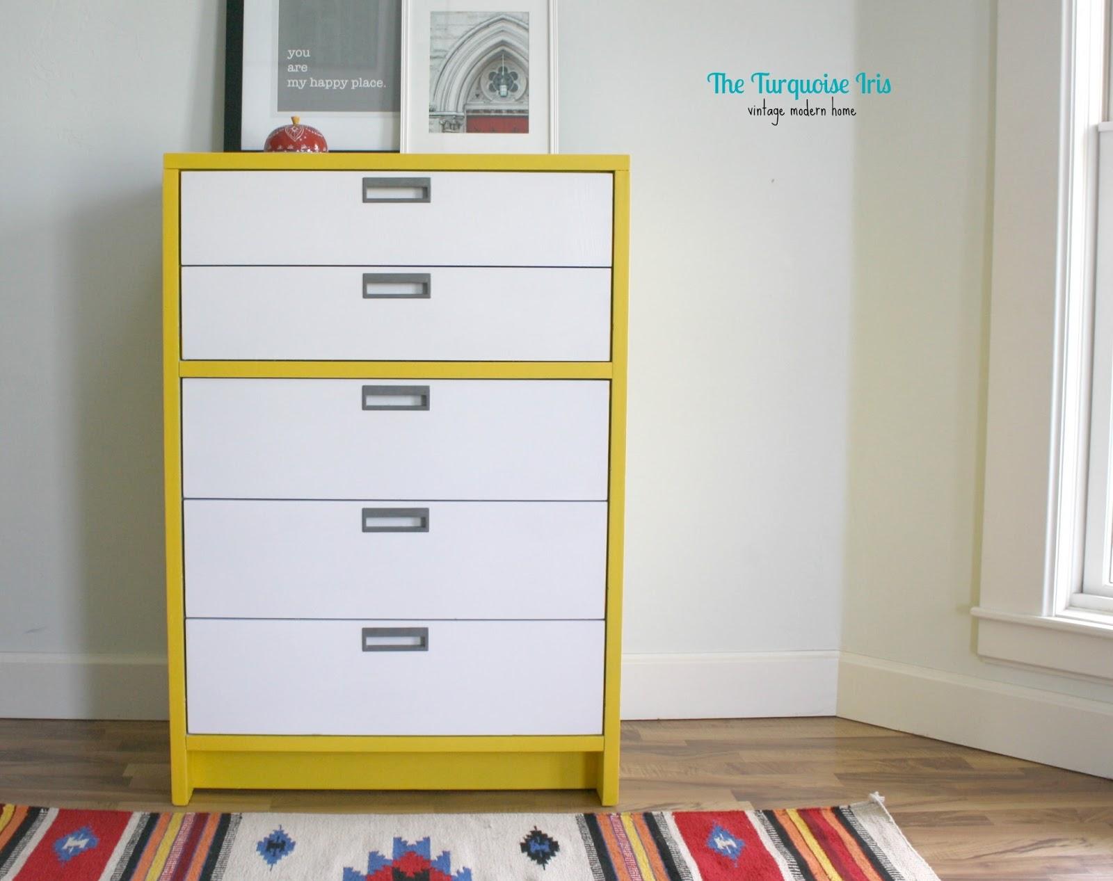 The Turquoise Iris Furniture Art Mid Century Dresser In Yellow