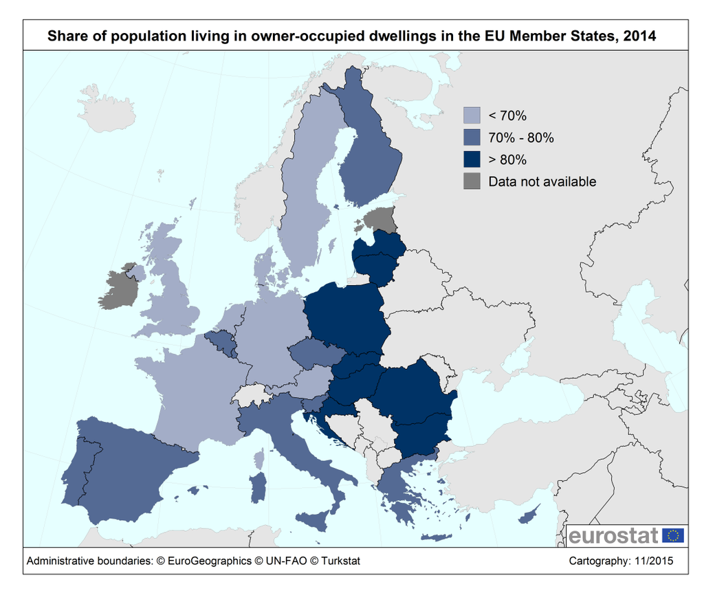 Share of population living in owner-occupied dwellings in EU member states (2014)