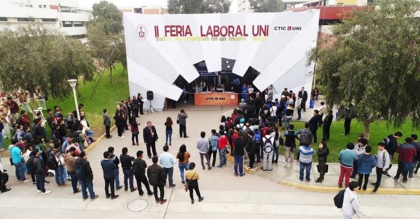 UNI: Feria laboral ofrecerá más de 1,000 puestos de trabajo y programas de prácticas, organizado por la Universidad Nacional de Ingeniería (2 al 4 Setiembre)