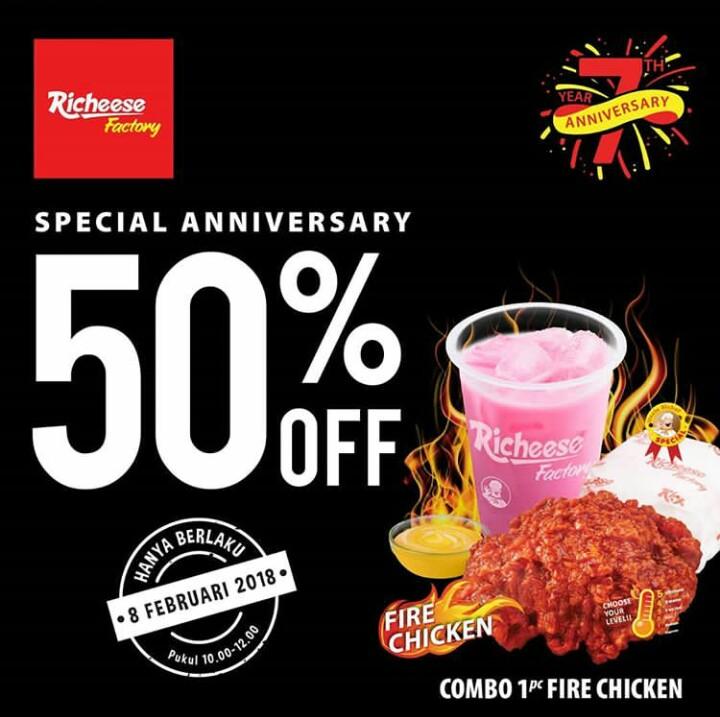 Promo Diskon 50% Richeese Factory Spesial Ulang Tahun Yang Ke 7