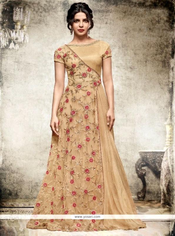 Buy Priyanka Chopra Beige Net Anarkali Salwar Kameez Anarkali Suits