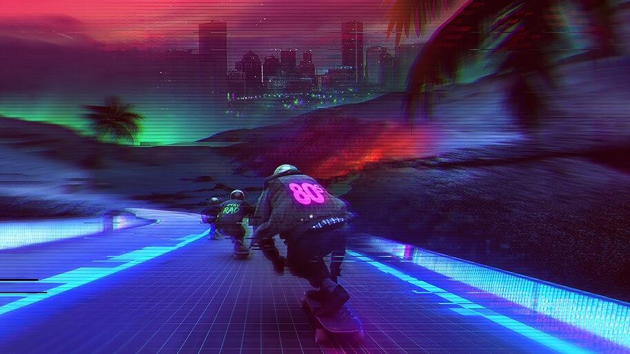 Synthwave, Midnight, Longboarding, Digital Art, 4K, #6.1261