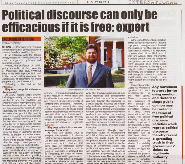 "Photo of the scan of my op-ed interview in the Tehran Times from August 25, 2014, ""Political Discourse Can Only Be Efficacious If It Is Free: Expert."""