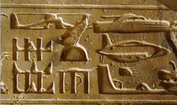 Ancient hieroplyph shows submarine helicopter and tank and boat which is mind blowing.