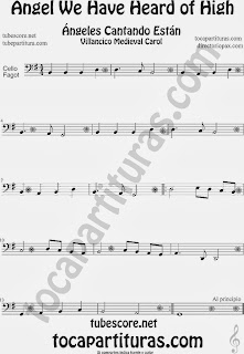 Partitura de para Violonchelo y Fagot Villancico Christmas Carol Sheet Music for Cello and Bassoon Music Scores