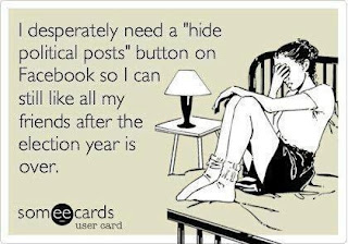 "Facebook needs a ""hide political posts"" button, 2012 Presidential Election, Romney, Obama, Democratic, Republican"
