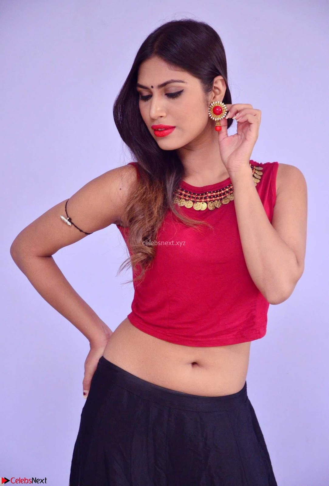 Nishi Gandha in Beautiful Red Crop Top ~ CelebsNext Exclusive