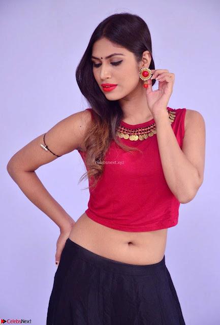 Nishi Gandha in Beautiful Red Crop Top ~  Exclusive 003.jpg