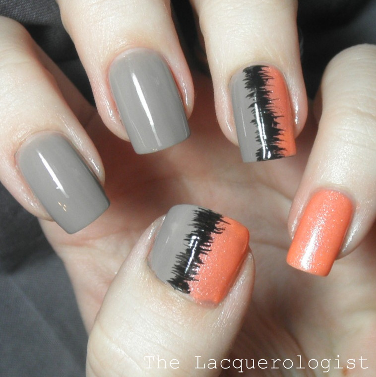 Sound Wave Nail Art Casual Contrast