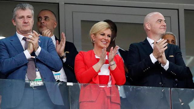 Piala Dunia 2018 : Lolos ke Final, Ini Ekspresi Kebahagiaan Presiden Kroasia