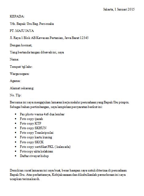 contoh surat lamaran kerja bagi lulusan smk ben jobs
