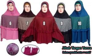 jilbab tangan motif yumra bahan spandek sutra