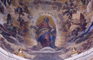 Cigoli's fresco at the Church of Santa Maria Maggiore shows  the Madonna standing on a pock-marked crescent moon