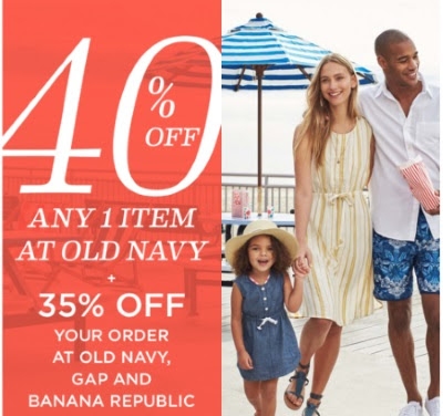 Old Navy 40% Off One Item + 35% Off Old Navy, Gap & Banana Republic Orders Promo Code