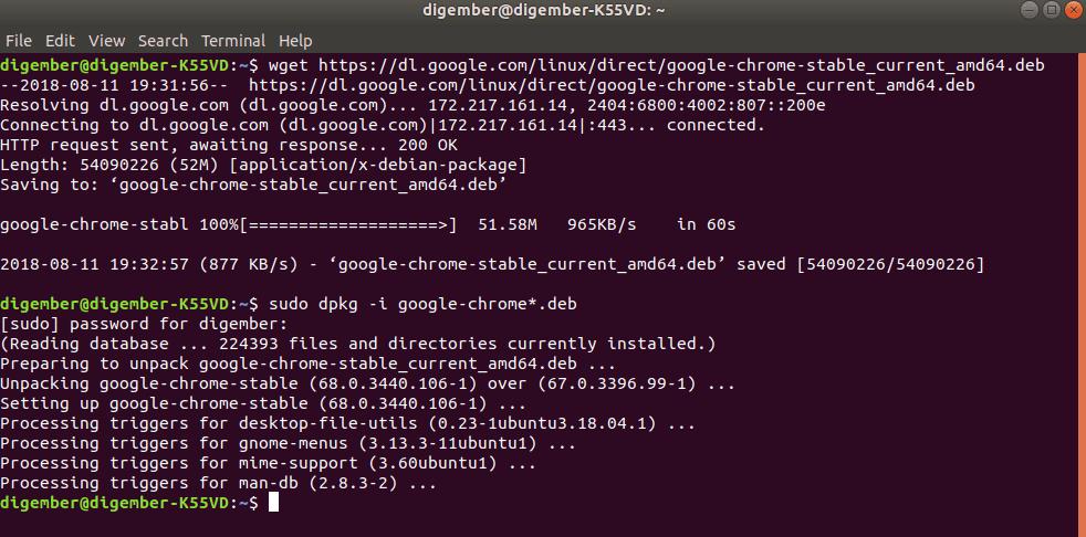 install chrome in ubuntu 18.4 LTS