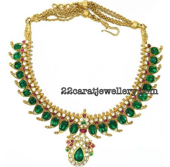 Natural Emeralds Mango Necklace