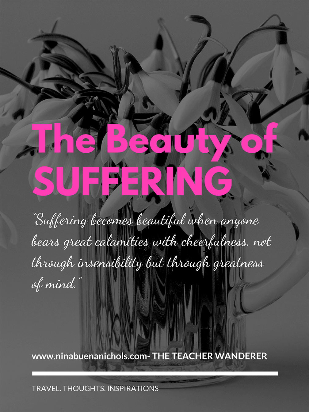 Suffering is an emotional state accompanied by negative emotions and severe pain. It usually threatens one's sanity and without justice causes irreparable injury.