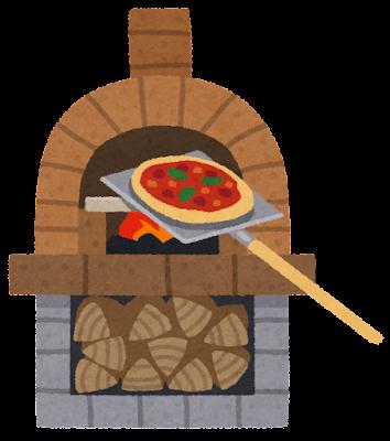 ピザ窯のイラスト(ピザ付き)