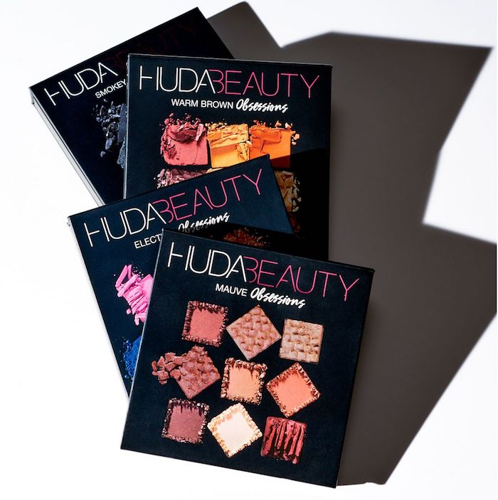 Swatches of each of the Huda Beauty Obsessions Eyeshadow Palettes, and a limited gift with purchase offer.