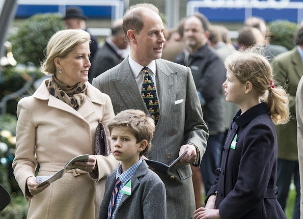 Sophie, Countess of Wessex and Prince Edward, Earl of Wessex, James, Viscount Severn and Lady Louise Windsor attends the Christmas Racing Weekend