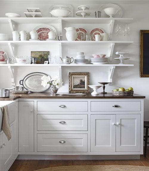 art in the kitchen shelf styling dishes ironstone silver paintings white kitchen