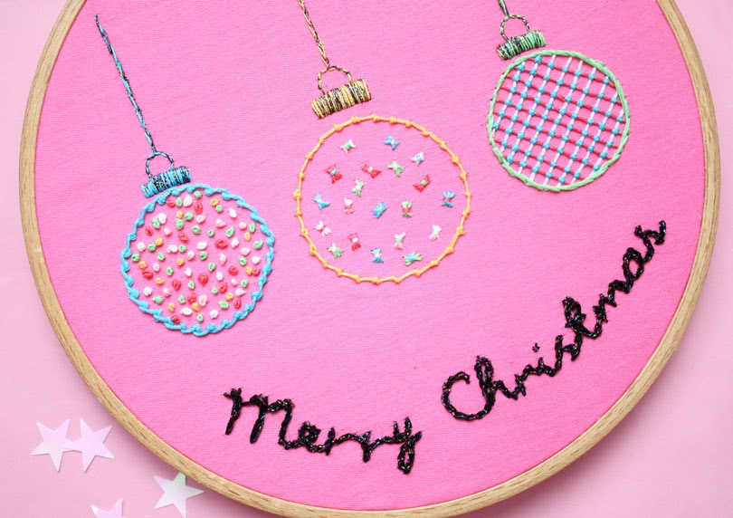 christmas embroidery hoop art baubles