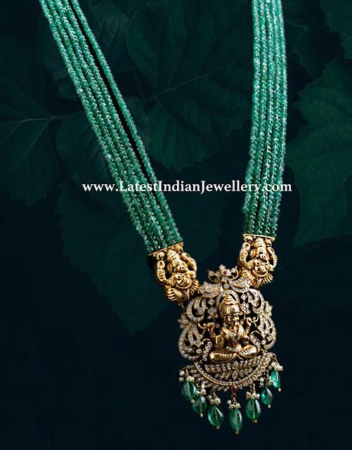 Diamond Lakshmi Pendant with Beads